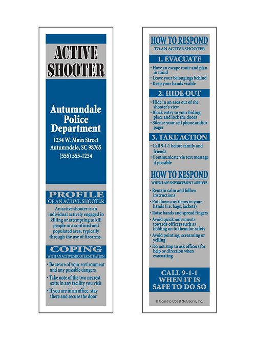 Active Shooter Bookmark