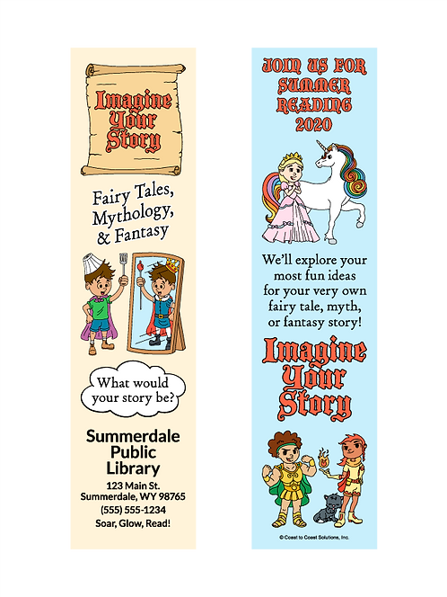 Imagine Your Story - Summer Reading 2020 Bookmark - Scroll Design