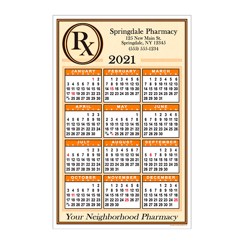 Pharmacy Wall Calendar
