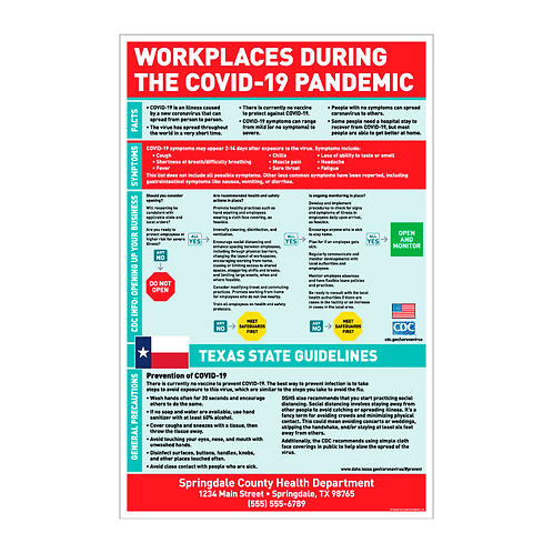 Workplaces During The COVID-19 Pandemic Poster - TEXAS