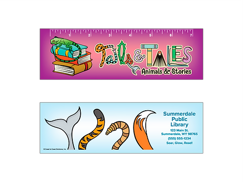 Tails & Tales - Summer Reading 2021 Bookmark With Ruler