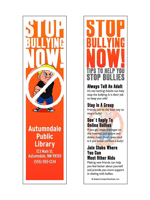 Stop Bullying Now Bookmark