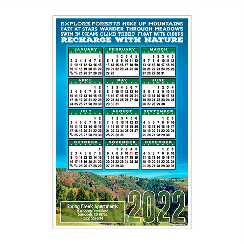 Recharge With Nature Wall Calendar