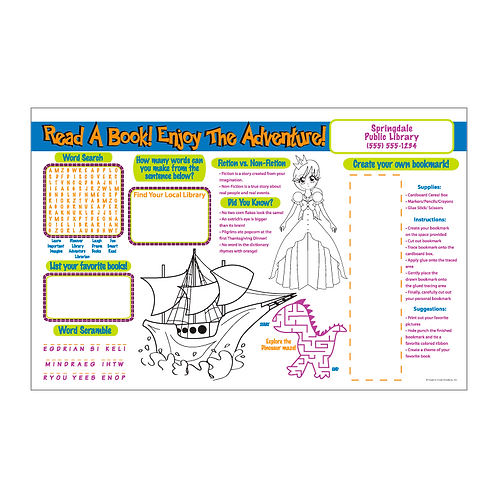 Read A Book Enjoy The Adventure Activity Sheet
