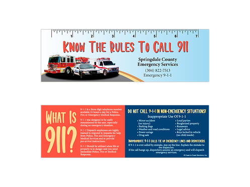When To Call 9-1-1 Bookmark With Ruler