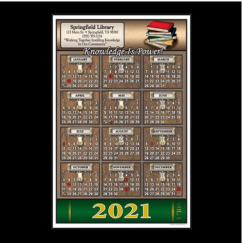 Library Card Catalog Wall Calendar