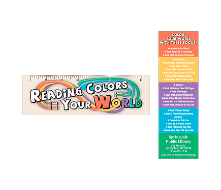Reading Colors Your World Bookmark With Ruler