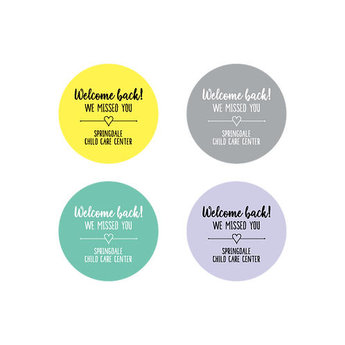 Welcome Back - Heart Stickers