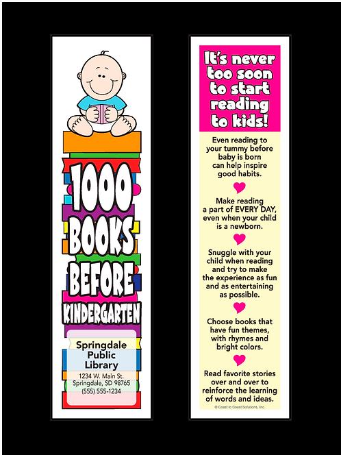 1000 Books Before Kindergarten Bookmark