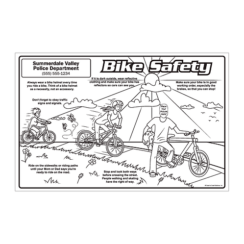 Color Me Now Bike Safety Coloring Poster