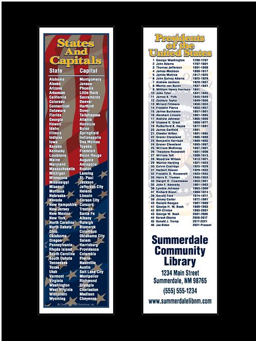 States & Capitals Bookmark