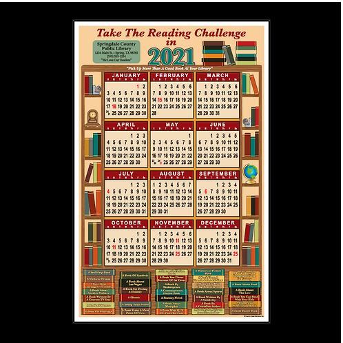 Library Bookshelf Wall Calendar