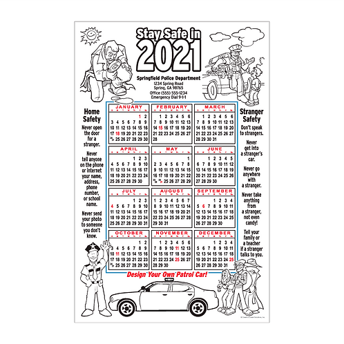 Law Enforcement Coloring Calendar