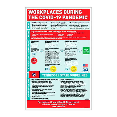 Workplaces During The COVID-19 Pandemic Poster - TENNESSEE