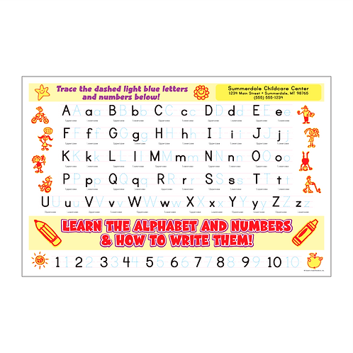 Learn the Alphabet & Numbers Activity Sheet