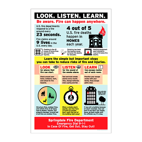 Look. Listen. Learn. Fire Safety Poster