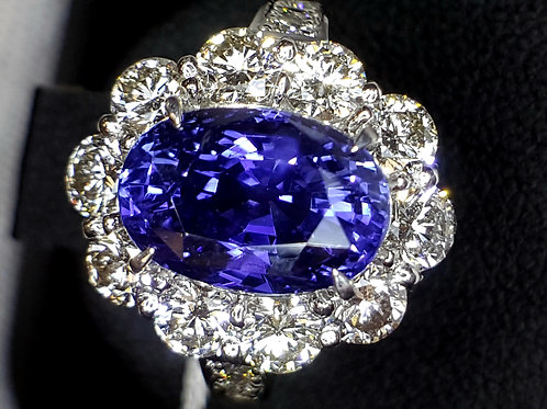 GIA Certified Unheated Burma color shift Sapphire 5.58 and Diamond 1.84 ct Ring