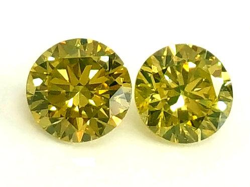 Beautiful canary yellow natural diamond pair VS clarity