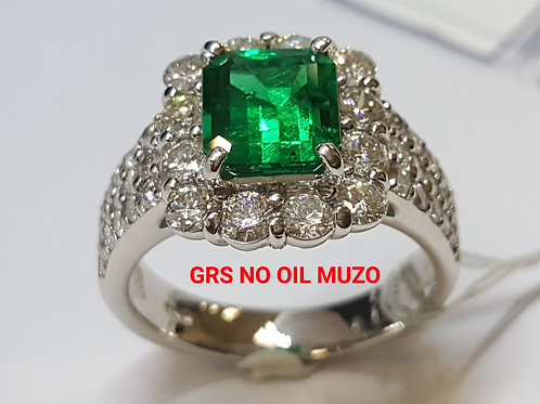 GRS NO OIL 1.65 Ct Muzo Emerald MARIPOSA and Diamond Ring