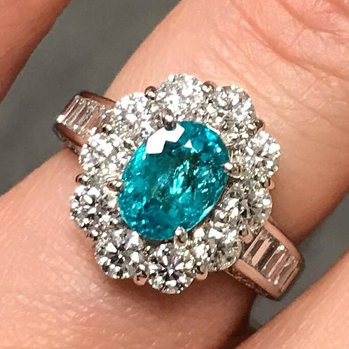 GIA Certified BRAZIL PARAIBA Tourmaline and Diamond Ring