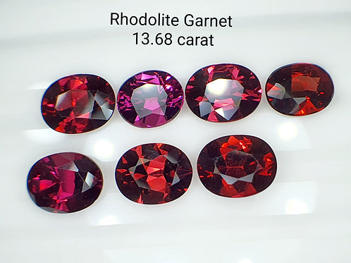 Whole Lot US $15 P/C, 13.68 Ct Natural Rhodolite Garnet  7 pcs.