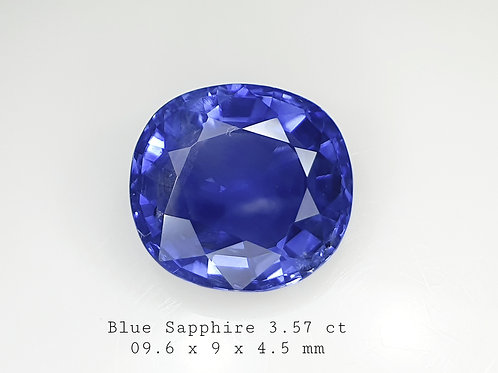 3.57 carat Natural Blue Sapphire cushion mild heat