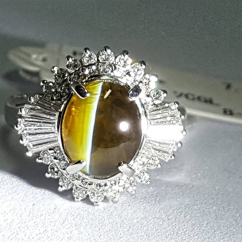 Natural 3.59ct Cats Eye Chrysoberyl & Diamond Ring