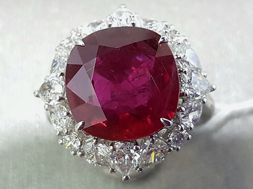 9.20 Cts Siam Ruby Vivid Red Ring GRS Certified