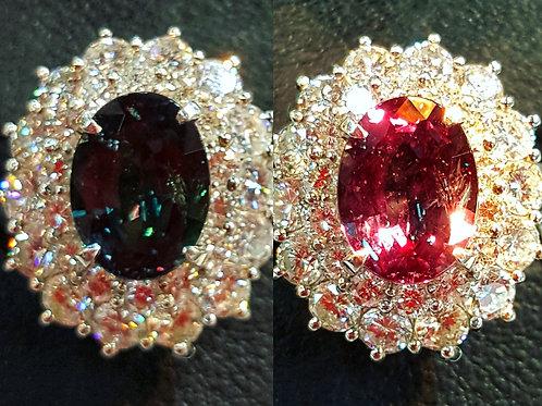 RARE 3.08 ct Natural Alexandrite & Diamond platinum Ring