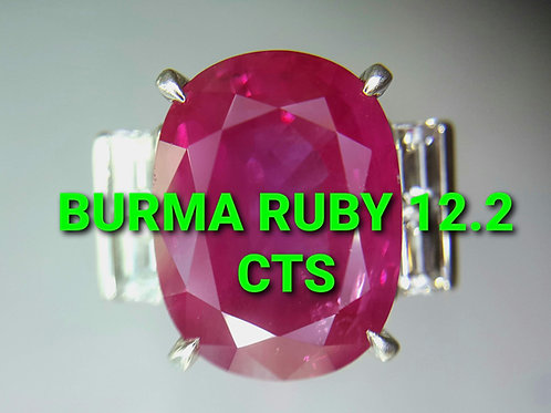 Million $ GRS Certified  Burma Ruby 12.28 ct & Diamond Ring