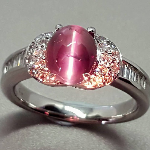 Natural Alexandrite Cats Eye diamond ring top green to purpl red