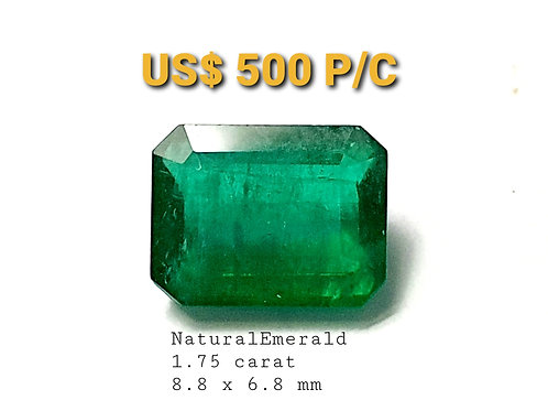 1.75 carat Natural Emerald vivid green like crystal from Brazil