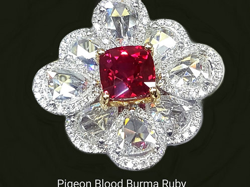 Magnificent GRS certified  2.1 cts  Burmese Pigeon Blood Ruby Diamond Ring