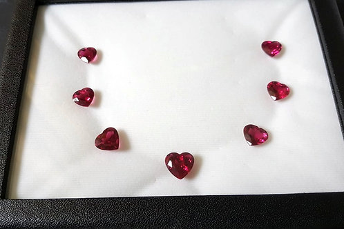 World Class 33.03 Ct Natural Rubellite Tourmaline Lot of 7 very clean heart shap