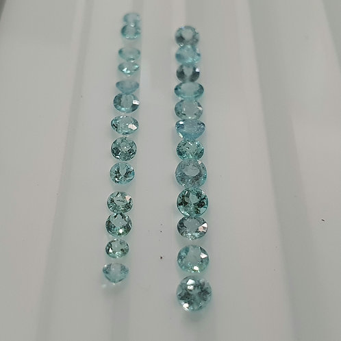 2.55 carats Paraiba Tourmaline 2 - 3.5 mm size Round