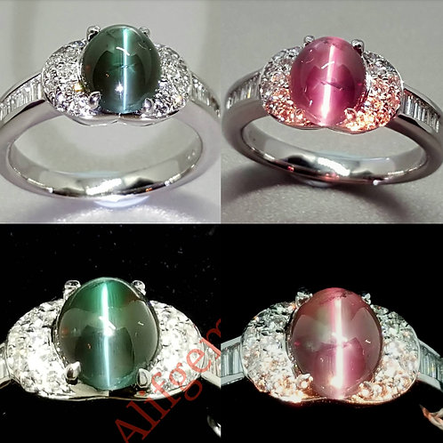 Natural Alexandrite Cats Eye diamond ring strong color chage