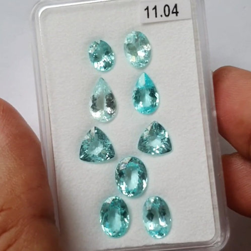 11.04 Ct Natural Paraiba Tourmaline neon blue 9 Pcs