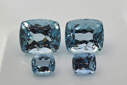 Natural Aquamarine pair Cushion gemstones