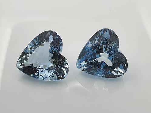 17.32 carat Natural Aquamarine pair heart shape gemstone