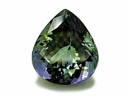 Rare No Heat Natural Green Tanzanite 4.72 pear gemstone