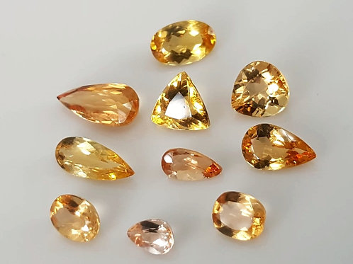 12.12 ct Rare True Imperial Topaz no heat mixed lot from behia Brazil