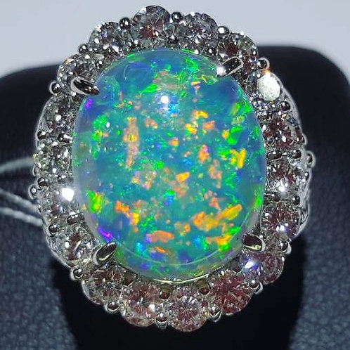 Exquisite 8.257 carat Black Opal And Diamond Ring