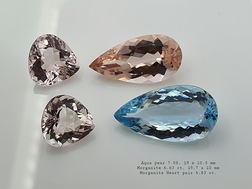 20 ct Aquamarine & Morganite Pair gemstone