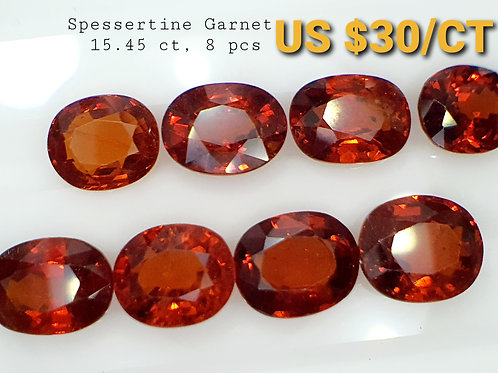 Whole Lot US $30 P/C, 15.45 Ct Natural Spessertine Garnet  8 pcs.