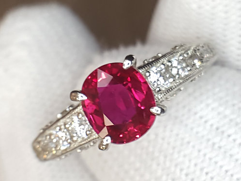 Unheated Ruby GIA Certified and Diamond Platinum Ring