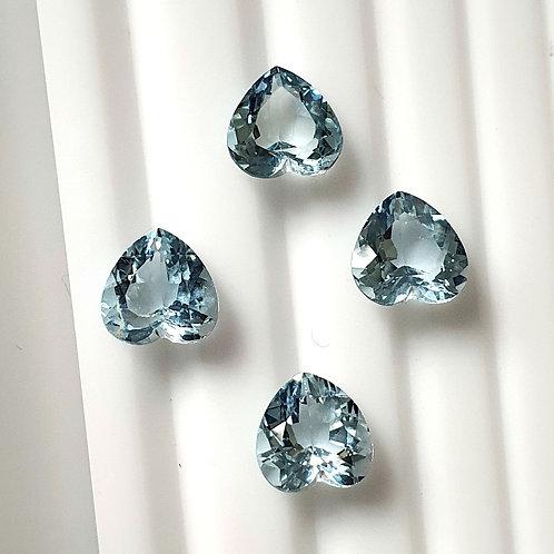 8.86 carat Natural Aquamarine heart shape 4 pcs Lot