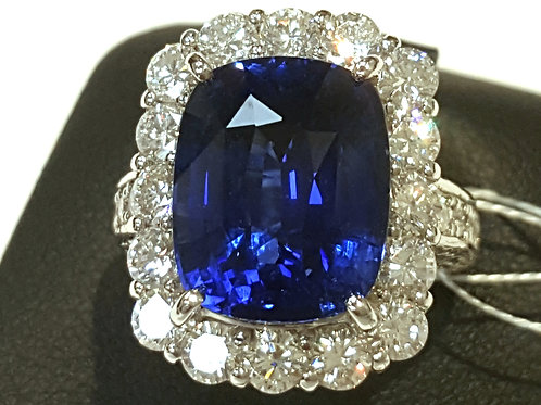 GRS certified 11.55 ct Royal Blue Sapphire and Diamond Ring