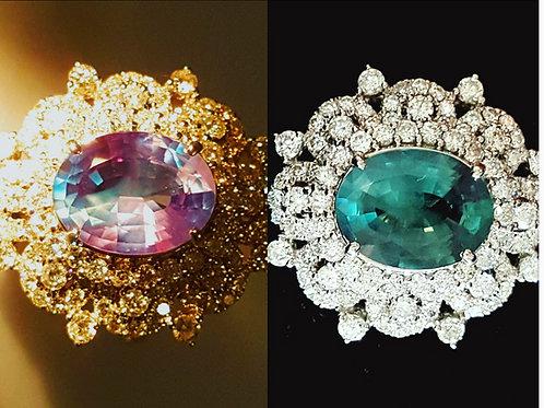 GIA Certified Brazil Alexandrite Engagement / wedding Ring US 6.5