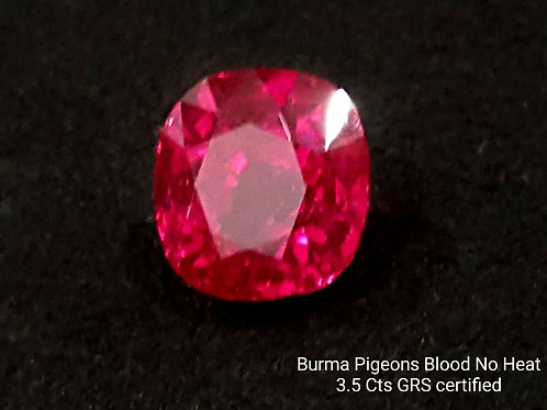 3.5 carats GRS Certified Burmese Ruby Pigeon Blood Red No Heat