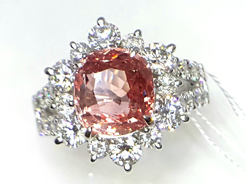 4.09 Ct GRS Certified Natural Padparadscha Sapphire and Diamond Ring, size 6 US